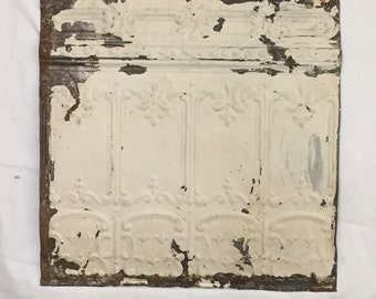AUTHENTIC Tin Ceiling Piece Tile White Panel 2x2 Arts and Crafts  RECLAIMED 354-16