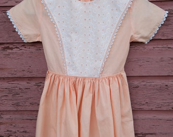 Vintage Girl's Dress  - Peach Eyelet Lace