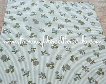 Fruit and Floral- Vintage Fabric Gray Grey Stripe Berries Ladybugs