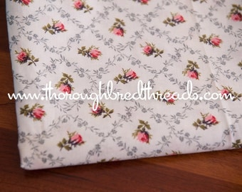 Sweet Pink Roses- Vintage Fabric New Old Stock 50s Cottage Charm 36 in wide