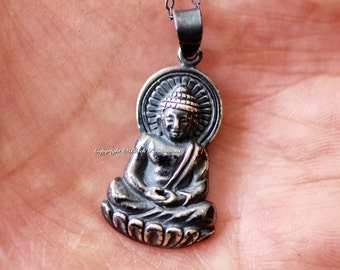 Shakyamuni Buddha Necklace - Large Oxidized Solid 925 Sterling Silver Gautama Buddha Auspicious Feng Shui - Free Domestic Shipping