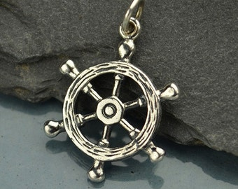 Ship's Wheel Necklace - Solid 925 Sterling Silver Charm - Insurance Included