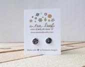Dark Silver Metallic Druzy Earrings | Item No. ATL-E-152