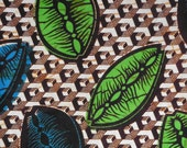 West African cotton print - 1/2 yard of blue and green shell