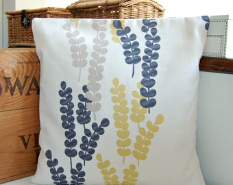 yellow, charcoal grey, beige cream leaf stems leaves decorative pillow cover, 16 inch leaves cushion cover 40 cm
