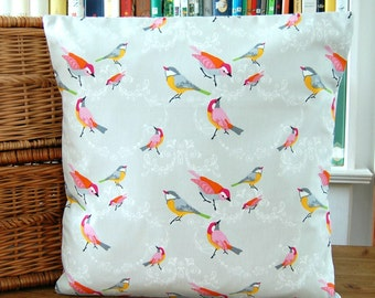 birds decorative pillow cover, blue red pink yellow orange grey cushion cover 16 inch