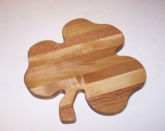 Shamrock  Cheese Cutting Board Handcrafted from Mixed Hardwoods