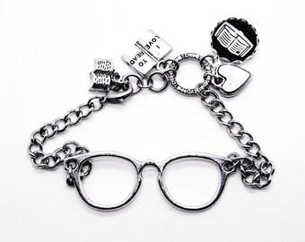 Book Lovers Glasses Bracelet Bibliophile Bookish Jewelry