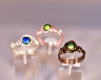 Mood bead wire wrapped rings