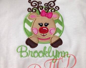 Reindeer in Circle Applique Shirt