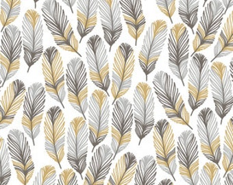 Woodland Boy Crib Sheet in Yellow and Gray, Feathers in Thicket - Ready to Ship