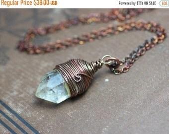 On Sale Yellow Citrine Necklace Antiqued Copper Wire Wrapped Citrine Pendant Yellow Gemstone Crystal Point Rustic Jewelry