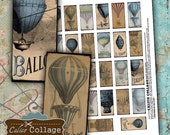 Hot Air Balloons Digital Collage Sheet 1x2 Domino Images Decoupage Paper Calico Collage French Printables Vintage Paper Digital Sheet