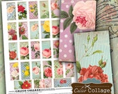 Shabby Chic Floral Digital Collage Sheet Domino Size Images for Pendants, Magnets, Bezel Settings, Digital Sheet, Decoupage Paper
