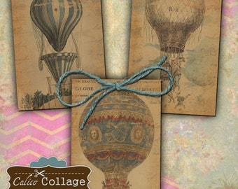 Hot Air Balloon Digital Collage Sheet 2.5x3.5 ATC Size Gift Tags Jewelry Holder Decoupage Paper Calico Collage Art Vintage Hot Air Balloon