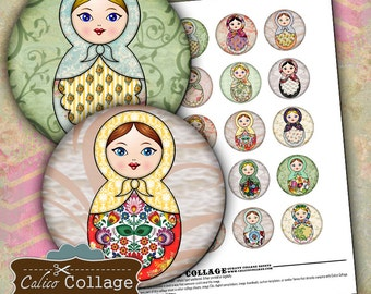 Nesting Doll Digital Collage Sheet - 1.5 inch Circles - Round Matryoshka Images - Printable Download - For Pendants Bezel Cabs