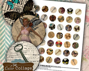 Keys Butterflies and Fairies Digital Collage Sheet Bottle Cap Images 1 Inch Circles for Resin Jewelry, Glass, Bezel Settings