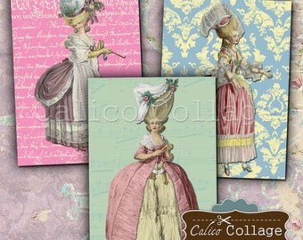 Marie Antoinette, Collage Sheets, Printable Ephemera, Digital Images, Gift Tags, Mini Cards, Greetings Cards, Altered Art, Journal Spots