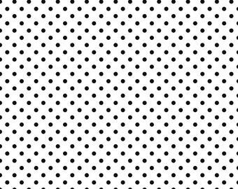 Black small dots on white 1/2 yard cotton lycra knit