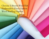 Wool Felt Sheets, Choose FIVE, 1mm thick, Felt Assortment, Pure Wool, Applique, Matching Floss, Wool Stuffing