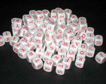 100 Solid Plastic Red Letter Cubes for Altered Art, Collage, Assemblage, Crafts, etc.