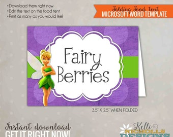 Tinkerbell Birthday Food Tent, Fairy Party Decoration, Printable Template, Instant Download #B133