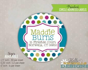 Turquoise & Bright Pink Polka Dot Circle Return Address Labels, Custom Wedding Envelope Seal Sticker