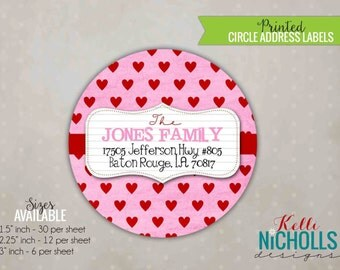 Valentine's Day Custom Stickers, Circle Return Address Labels, Pink and Red Hearts