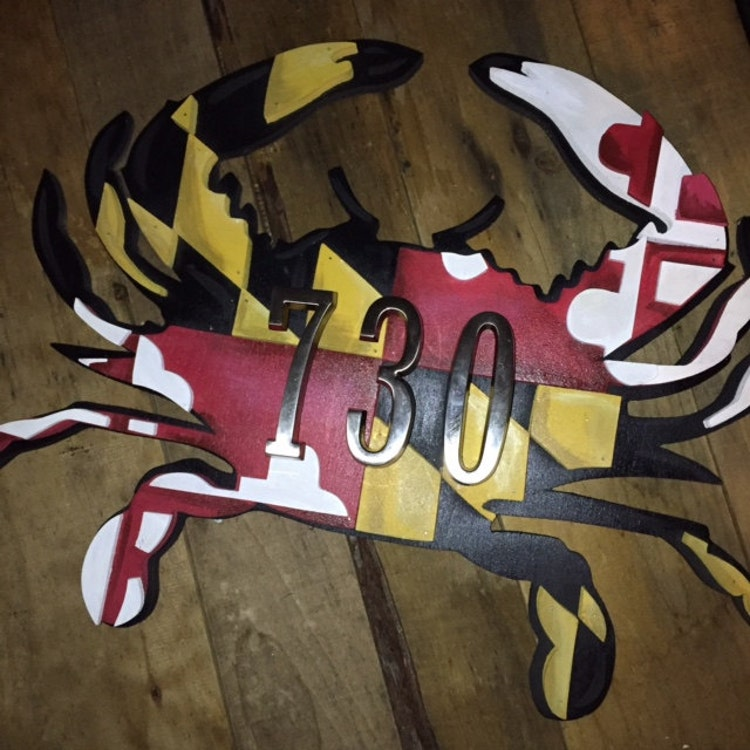 Large 3d maryland flag crab without numbers wooden by for Large 3d numbers