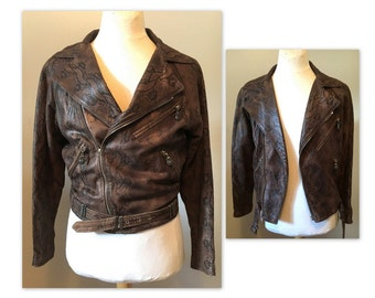 Vintage 80s Versace Leather Jacket S M Embossed Leather by Ruffo Biker Jacket