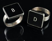 SALE - Computer Key Jewelry - rePURPOSED MacBook Sterling Silver Letter Key Ring (B or D)