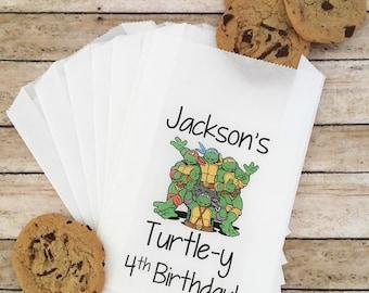 Ninja Turtle Birthday Favor Bags, Ninja Turtle Birthday, Candy Buffet Bags, Boy Birthday Favors, Birthday Treat Bags, Favor Bags, Favors