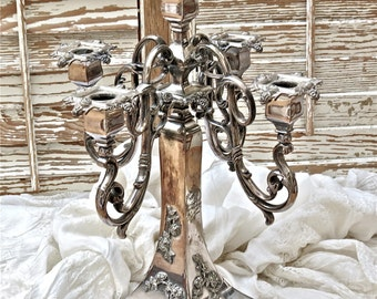 Antique Shabby Chic Gorgeous........Dated 1912 Silver Plate  Candelabra