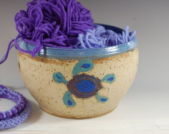 Large Sea Turtle Yarn Bowl , Bamboo with Purple Grape glaze knitting and crocheting