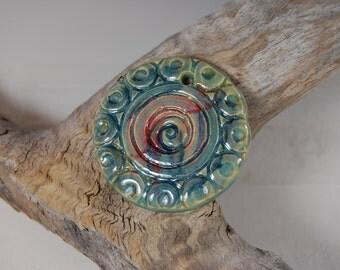 Large Pottery Pendant - Jewelry making - Texture - Boho Jewelry J09