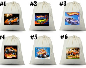 12  Hot Wheels Party Favor Candy Loot Treat Drawstring Bags
