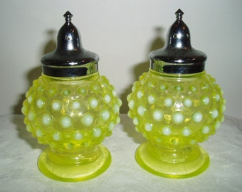 Imperial Glass Vaseline Opalescent Yellow Hobnail Salt and Pepper Shakers - Pair Mid Century 1960's Glass Salt & Pepper Shakers Set