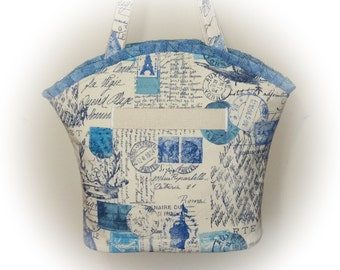 FREE Ship USA Canada - J Castle Boutique Bag - French Stamps Blue Amor Postale Heavy Canvas Fabric - (Ready to Ship)