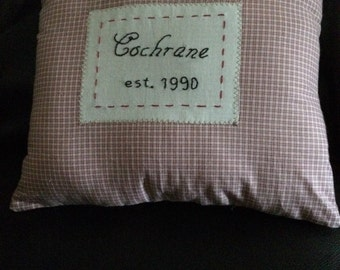Custom Throw Pillow Hand embroidered