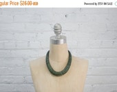 Valentine SALE vintage 80s neutral aqua green wood bead necklace / earthy minimalist style