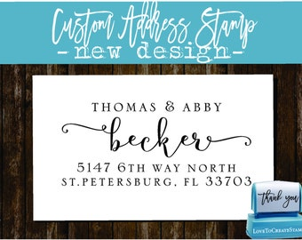 Custom Return Address Stamp - Custom Calligraphy Stamp - Handwriting Script - Personalized SELF INKING Wedding Stationery Stamper - (177 )