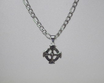 Celtic Cross Pendant on Rhodium Necklace - UNISEX - Three length choices