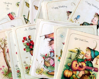 Vintage AnneLiese Hummel Style Small Greeting Cards Set of 25 Happy Birthday, Get Well, Thinking of You, Bible Verses Paper Stationery