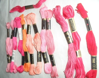 Embroidery floss threads in mixed colors 12 skeins plus extra