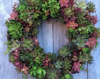 Succulent Wreath, Living Wreath, Artificial Succulent Wreath for Door, Spring Wreath, Everyday Wreaths