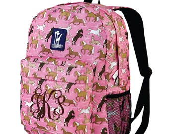 Monogram Backpack and Lunch Bag Set - Wildkin - Personalized - Horses in Pink - Back to School Crackerjack