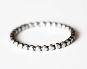 Sterling Silver Bead Band Stacker Ring - Stackable Rings - 925 - Mother's Ring - Skinny Ball Band - Beaded Silver Ring - Stacking