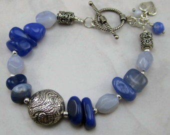 Chalcedony, Blue Quartz and Sterling Silver Bracelet