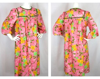 Vintage Robe, Housedress, Floral Cotton, Sz M