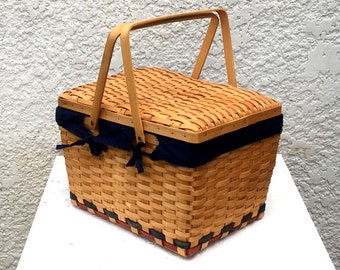 Vintage Wood Slat Picnic Basket,  with Dark Navy Blue Cotton Removable Lining